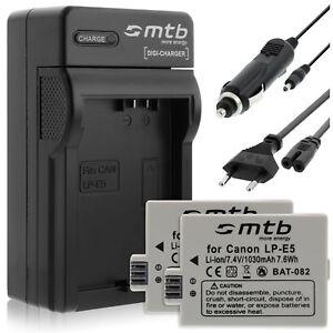 2x ayex LP-E5 Akkus mit Dual USB-Ladegerät für Canon EOS 1000D//500D//450D