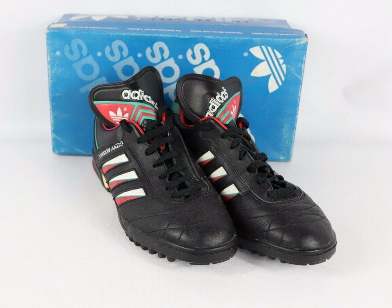 Vintage 80s Neuf Adidas Homme 9.5 Torsion Anzio Trefoil Sort Out Turf Chaussures