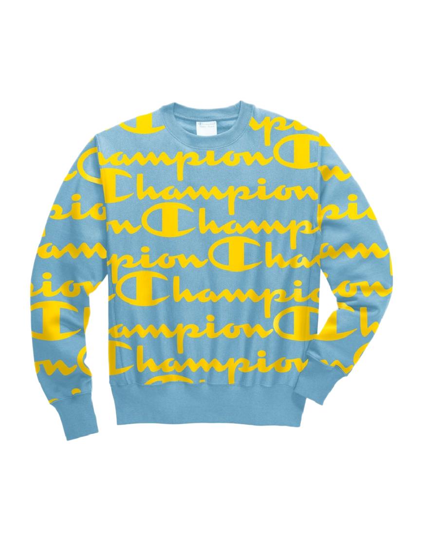 Champion Active Blau Reverse Weave All Over Logo schweißhemd