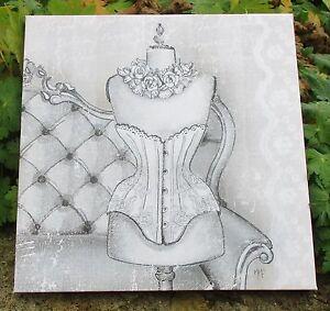 toile sur chassis esprit lingerie bustier mannaquin mathilde m d co de charme ebay. Black Bedroom Furniture Sets. Home Design Ideas