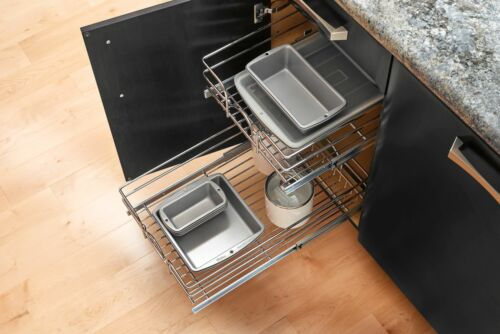 """Chrome Rev-A-Shelf 5WB2-2122 5WB Series 21/""""W by 22/""""D Two Tier Pull Out"""