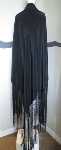 Antique Shawl Black Victorian 1880 Silk Fringe