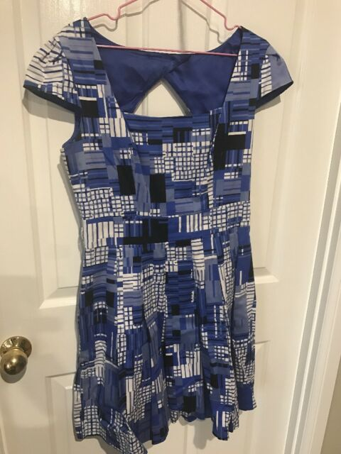 Review Dress Size 12 Blue Black And White