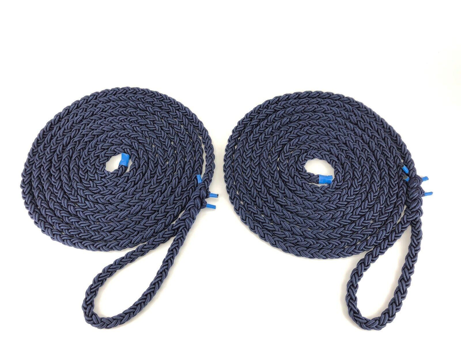 2 x 10 Meter von 12mm marineblau 8 Strang Nylon BEFESTIGUNGSLEINE Leitungen