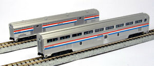 Kato-N-Scale-106-7122-Amtrak-Step-Down-Coach-amp-Baggage-Phase-III-2-Car-Set-New
