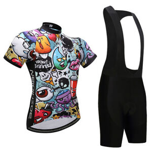 Cartoon-Men-039-s-Bike-Clothing-Kit-Cycle-Jersey-Top-Cycling-Bib-Shorts-Set-S-5XL