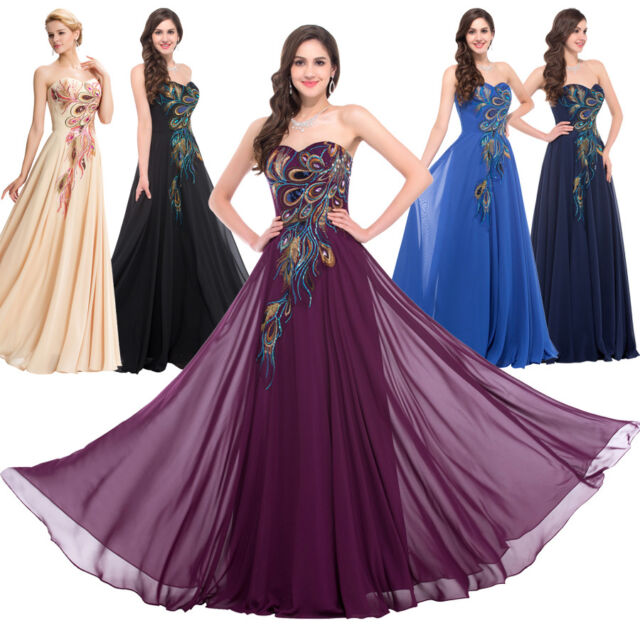 Peacock Evening Formal Party Ball Gown Wedding Bridesmaid Dress Elegant Lace Up