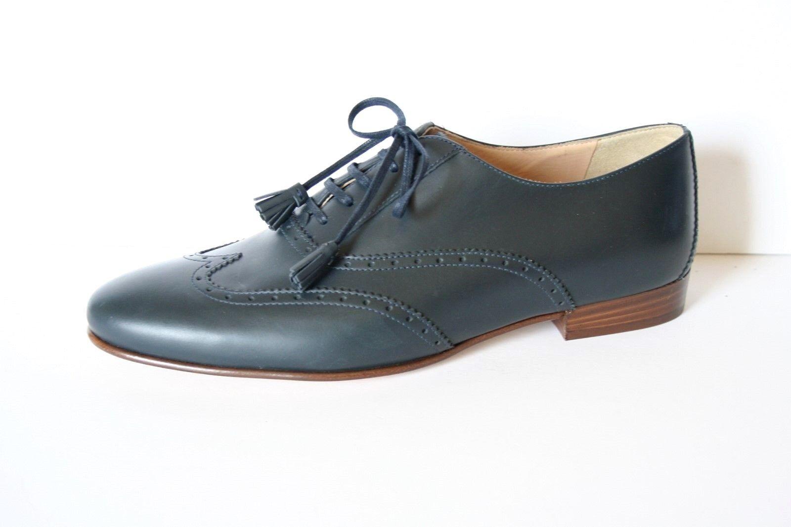 JCrew Tasseled Oxford Shoes 10.5 Navy Flats E1161 $268 Tassel