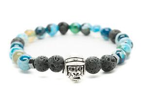 Azul-Agata-y-Negro-Lava-con-Simio-Charm-Cuentas-Hombre-Elastico-Bracelet-DT429