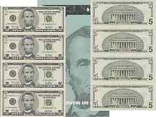 2001 $5 Bill 4 Note Uncut Sheet New York District Original BEP Display Card