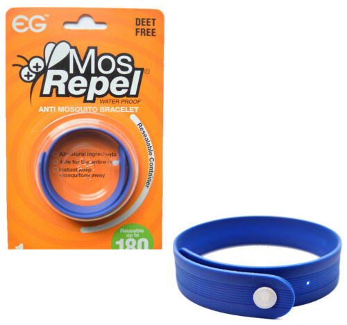 MOS REPEL ANTI MOSQUITO REPELLENT BAND BRACELET SCENTED FOR WRIST//ANKLE BLUE