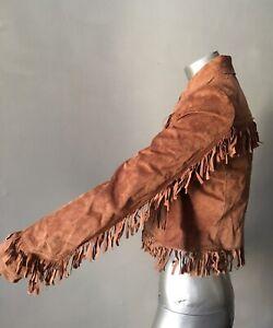 Party Suede Jacket Motorcykel M Frakke Rust Vintage Brown Beskåret Fringe Sz Boho WRn6BA1qww