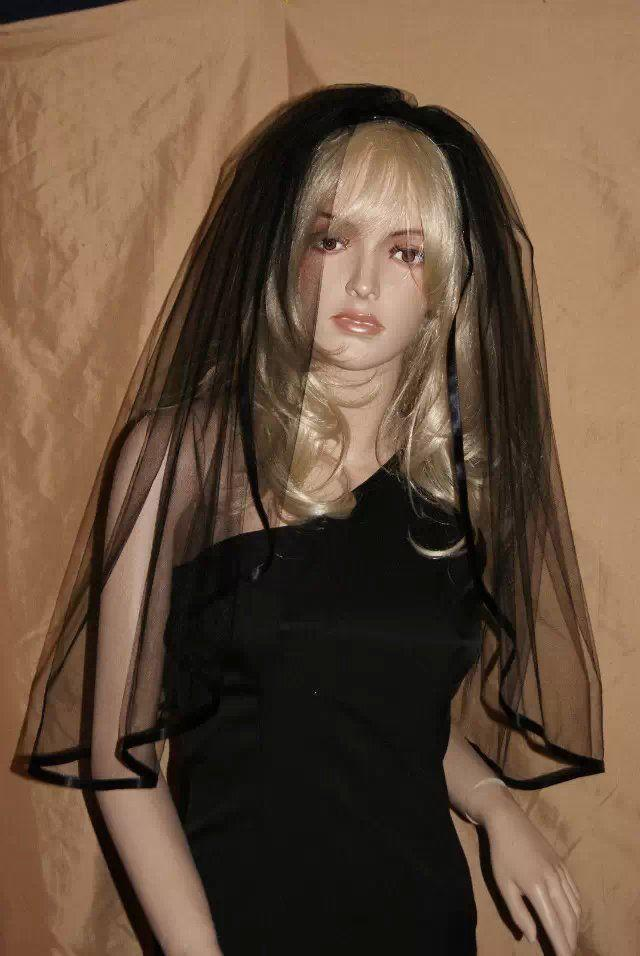 Veil On Comb Halloween - Black - Bridal Party Fancy Dress NEW from UK