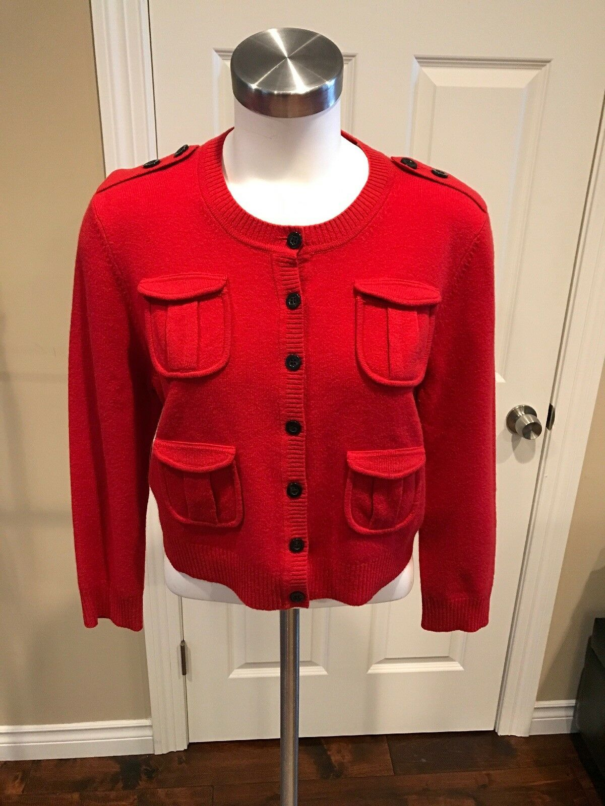 Diane Von Furstenberg Red Wool Blend Button-Up Cardigan, Size Large