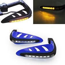 "Blue Motorcycle 7/8"" Handlebar Bush Bar Handguard LED Turn Signal Light ATV"