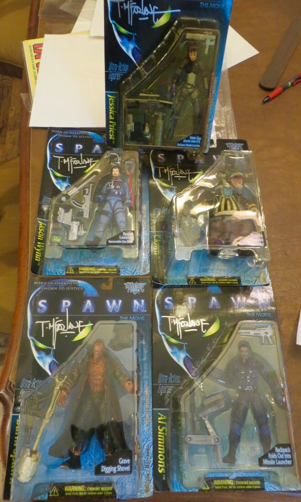 Spawn Movie.  5 Action Figures, Signed by McFarlane. Rare & Unopened.