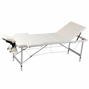 Lettino Pieghevole Da Massaggio.Dettagli Su Vidaxl Lettino Pieghevole Da Massaggio Bianco Crema 3 Zone Con Telaio Alluminio
