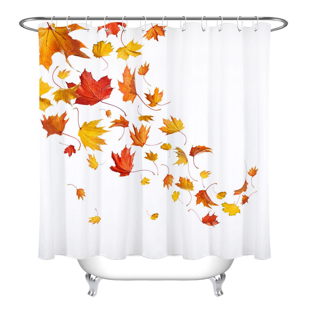 Beautiful Autumn Maple Leaves Design Fabric Shower Curtain Set Bath Decor 72x72