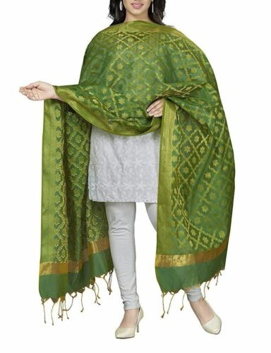 Indian Stole Women/'s Art Cotton Silk Dupatta Zari