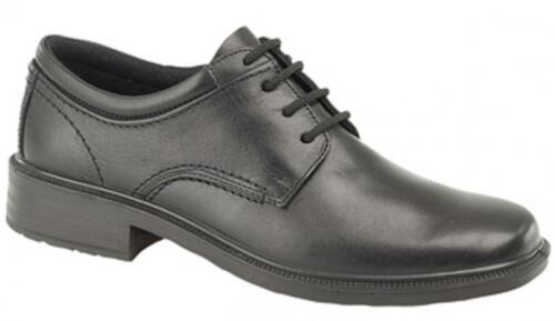 Mens Leather Lace-Up Padded Waterproof Gibson Lace-Up Office Formal Shoes Black