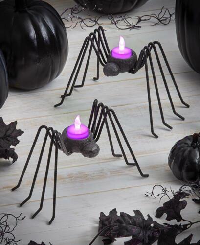 2 SPIDER LED TEA LIGHT CANDLEHOLDERS TABLETOP MANTEL SPOOKY HALLOWEEN HOME DECOR
