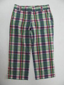 EUC-J-Crew-Cropped-Capris-Pants-City-Fit-Size-2-Womens-Plaid-Green-Pink-Cotton