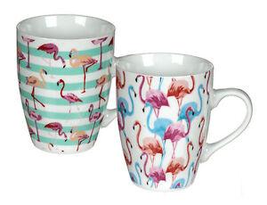 2-Becher-Flamingo-aus-Porzellan-11-5x10-5-cm-Kaffee-Tee-Tasse-Kaffeebecher