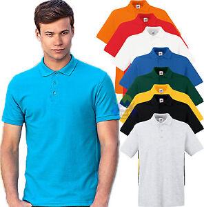 POLO-a-MANICA-CORTA-da-Uomo-FRUIT-OF-THE-LOOM-Basica-NEUTRA-Bottoni-MAN-T-shirt