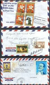 HONDURAS-3-Different-Air-Mail-Covers-to-ARGENTINA