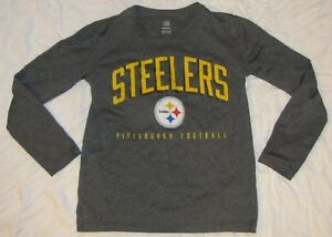 08f6e394 Details about Steelers NFL Youth Long Sleeve T-Shirt Gray Size Small 8 grey  soft t Pittsburgh