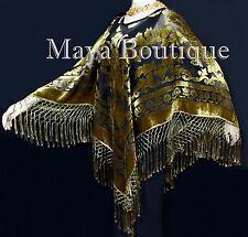 Maya Matazaro Antique Gold & Black Burnout Velvet Poncho Shawl Top With Fringes