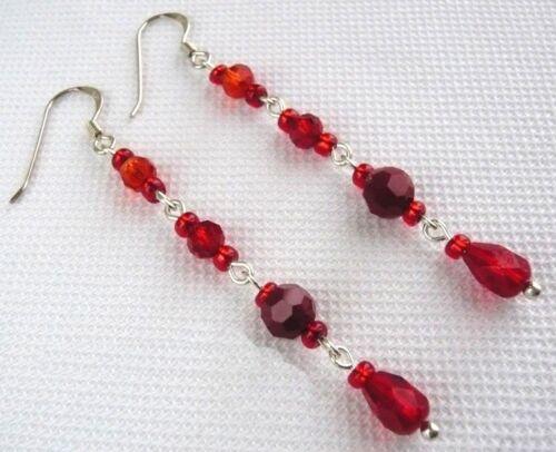 Sterling Silver Czech Glass Crystal Red Orange Hook Earrings Choose Colour