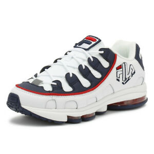fila mens trainers white / navy / red silva lace up sport