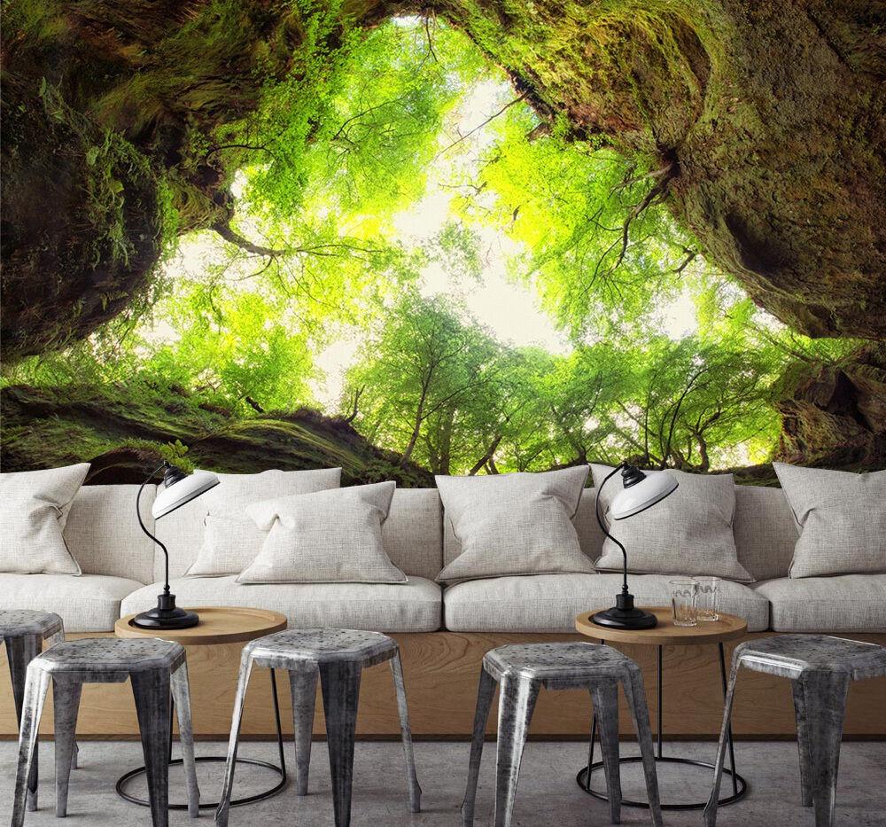 3D Bäume, Sonnenlicht Fototapeten Wandbild Fototapete Bild Tapete Familie Kinder