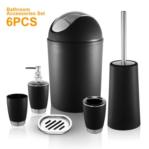 6Pcs Bathroom Accessory Set Bin Soap Dish Dispenser Tumbler Toothbrush Holder