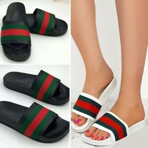 Womens-Striped-Sliders-Slides-Flat-Slip-On-Mules-Summer-Fashion-Sandals-Shoes-Sz