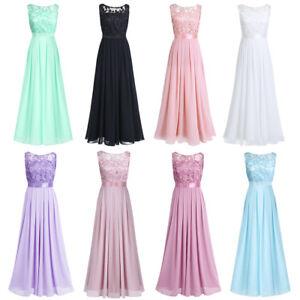 Damen Elegant Langes Kleid Festlich Hochzeit Brautjungfernkleider Cocktailkleid Ebay