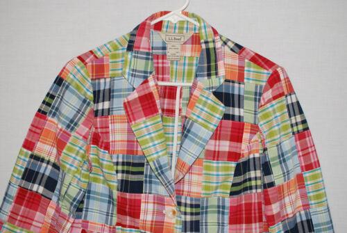 LL Bean Womens Patchwork Madras Blazer Jacket 3/4