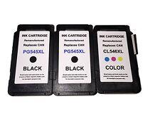 3 Cartuchos de impresora para Canon PG545XL CL546XL Pixma MG2450 MG2550 MG2950