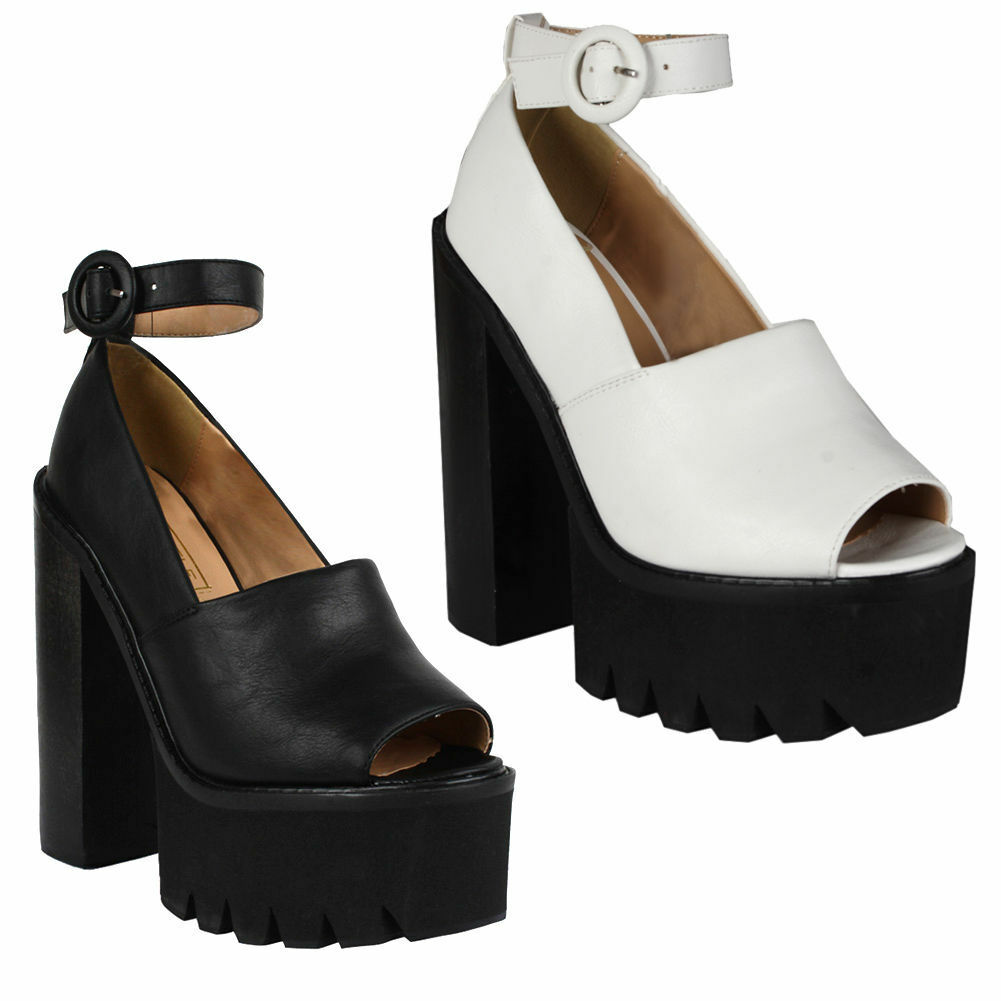 Womens Cut Out Cleated Sole Platform Chunky Mid Heel Sandals Buckle Strap Shoes