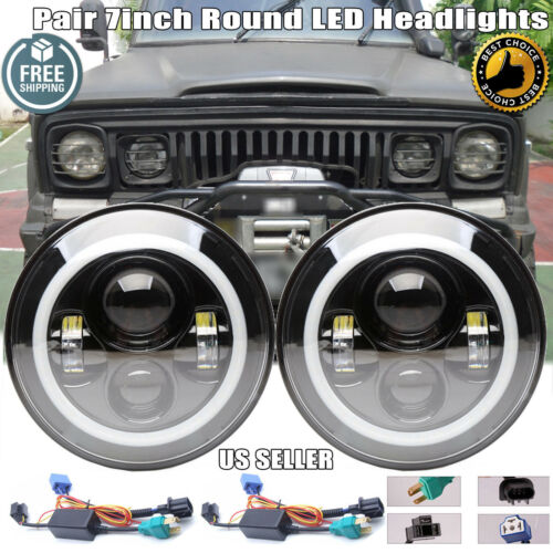 2x 7 Inch Round LED Projector Headlight Head Lamps H4-H13 for Jeep J20 1974-1978