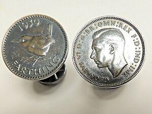 "Vintage Classic Pair ""Charles Tyrwhitt"" 1939 Farthing Nickel Plated Cufflinks"