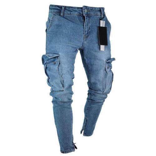 Mens Jeans Ripped Frayed Denim Pants Cargo Biker Slim Fit Skinny Jogger Trousers