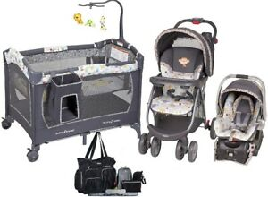 Boys /& Girls Combo Set Baby Stroller with Car Seat Infant Playard Diaper Bag Set