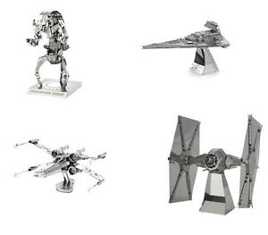 SET-of-4-Metal-Earth-Star-Wars-X-Wing-Destroyer-Droid-Tie-Imperial-3D-Model-Kits