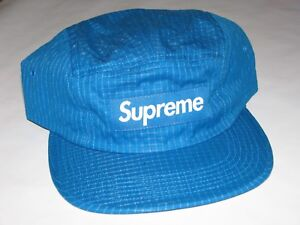 8df20522667 SUPREME New York Overdyed Ripstop Camp Cap Hat BLUE Adjustable NEW F ...
