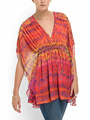 Catherine Malandrino Blouse Silk Kaftan Surfer Print Orange/Multi-NWT-RP: $495