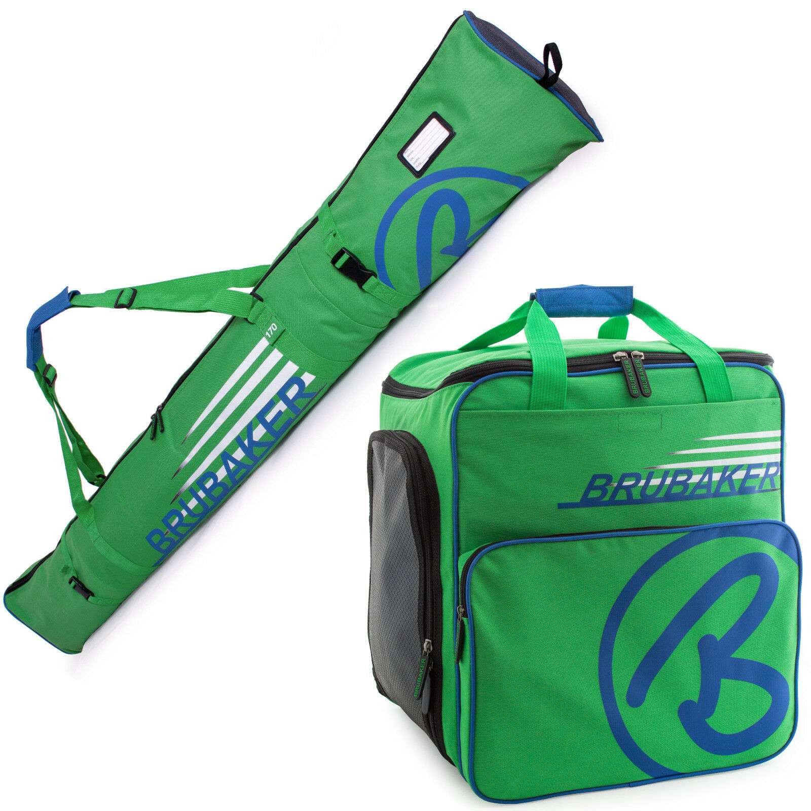 BRUBAKER 'Champion' set borsa porta sautoponi e sacca sci 170190cm verde blu