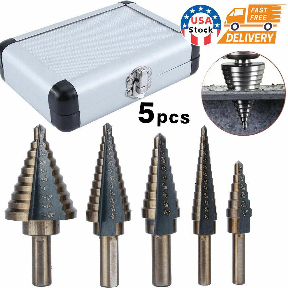 5PCS HSS COBALT MULTIPLE HOLE 50 Sizes STEP DRILL BIT SET w// Aluminum Case Tool