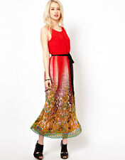 Beloved Taylor Maxi Dress with Tie Waist in Red Sz L  UK 14/EU 42/US 10 rrp £69
